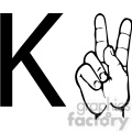 ASL sign language K clipart illustration worksheet