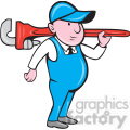 plumber with big wrench STAND shape