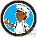 chef African American standing thumb up in circle shape