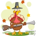 6903_Royalty_Free_Clip_Art_Pilgrim_Turkey_Bird_Cartoon_Character_With_A_Musket