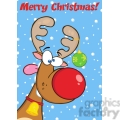 Royalty Free RF Clipart Illustration Merry Christmas Greeting With Reindeer With Christmas Ball