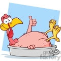 6960 Royalty Free RF Clipart Illustration Smiling Turkey Bird Cartoon Character In The Pan Giving A Thumb Up