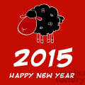 Clipart Illustration Happy New Year 2015 Design Card With Black Sheep