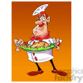 vector chef holding large plate of food cartoon