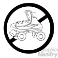 no roller skating sign in black and white