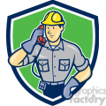 telephone repairman calling phone shield