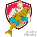 fishmonger holding salmon flish SHIELD