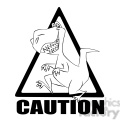 caution t rex crossing black and white