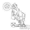 soccer player confused by a baseball black and white  gif, png, jpg, eps, svg, pdf