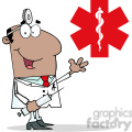 128512 rf clipart illustration african american doctor holding syringe and waving for greetings in front of red cross gif, png, jpg, eps, svg, pdf
