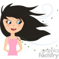 Girl in wind cartoon character vector image