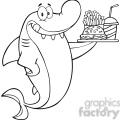 royalty free rf clipart illustration black and white shark cartoon character holding a plate of hamburger and french fries gif, png, jpg, eps, svg, pdf