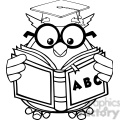 royalty free rf clipart illustration black and white wise owl teacher cartoon mascot character reading a abc book gif, png, jpg, eps, svg, pdf