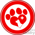 Royalty Free RF Clipart Illustration Veterinary Love Paw Print Red Circle Banner Design With Dog Head And Cross