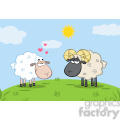 royalty free rf clipart illustration white sheep in love with ram sheep on a meadow  gif, png, jpg, eps, svg, pdf
