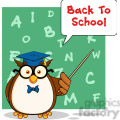 royalty free rf clipart illustration wise owl teacher cartoon mascot character with a speech bubble and text gif, png, jpg, eps, svg, pdf