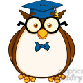 royalty free rf clipart illustration wise owl teacher cartoon character with glasses and graduate cap gif, png, jpg, eps, svg, pdf