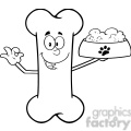 royalty free rf clipart illustration black and white bone cartoon mascot character holding a dog food in red bowl dish gif, png, jpg, eps, svg, pdf