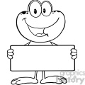 royalty free rf clipart illustration black and white cute frog cartoon mascot character holding a banner gif, png, jpg, eps, svg, pdf