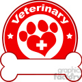 royalty free rf clipart illustration veterinary red circle label design with love paw print,cross and bone under text gif, png, jpg, eps, svg, pdf