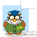 Royalty Free RF Clipart Illustration Wise Owl Teacher Cartoon Mascot Character Reading A ABC Book And Speech Bubble