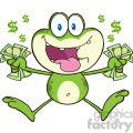 7271 royalty free rf clipart illustration crazy green frog cartoon character jumping with cash  gif, png, jpg, eps, svg, pdf