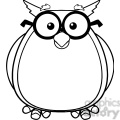 Royalty Free RF Clipart Illustration Black And White Wise Owl Teacher Cartoon Character With Glasses