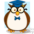Illustration Wise Owl Teacher Cartoon Character With Glasses And Graduate Cap