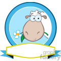 Royalty Free RF Clipart Illustration Cartoon Blue Circle Label With Sheep And Ribbon