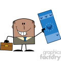 Royalty Free RF Clipart Illustration Lucky African American Businessman With Briefcase Holding A Euro Bill Cartoon Character