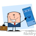 Royalty Free RF Clipart Illustration Lucky Businessman With Briefcase Holding A Euro Bill Cartoon Character On Background