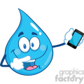 Royalty Free RF Clipart Illustration Water Drop Character Pointing To A Mobile Phone