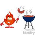 Royalty Free RF Clipart Illustration Happy Fire Cartoon Mascot Character With Sausage On Fork Cook At Barbecue