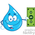 Royalty Free RF Clipart Illustration Water Drop Character Showing A Dollar Bill