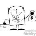royalty free rf clipart illustration black and white winking businessman with briefcase holding a money bag cartoon character gif, png, jpg, eps, svg, pdf