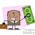 Royalty Free RF Clipart Illustration Lucky African American Businessman With Briefcase Holding A Dollar Bill Cartoon Character On Background