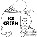 royalty free rf clipart illustration black and white happy ice cream man driving truck  gif, png, jpg, eps, svg, pdf