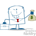 royalty free rf clipart illustration winking businessman with briefcase holding a money bag monochrome cartoon character gif, png, jpg, eps, svg, pdf