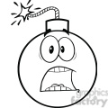royalty free rf clipart illustration black and white scared bomb cartoon character  gif, png, jpg, eps, svg, pdf