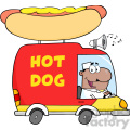 Royalty Free RF Clipart Illustration African American Hot Dog Vendor Driving Truck