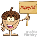 royalty free rf clipart illustration smiling acorn cartoon mascot character holding a wooden board with text happy fall gif, png, jpg, eps, svg, pdf