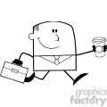 royalty free rf clipart illustration black and white lucky businessman running to work with briefcase and coffee cartoon character gif, png, jpg, eps, svg, pdf
