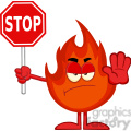 Royalty Free RF Clipart Illustration Angry Fire Cartoon Mascot Character Holding A Stop Sign
