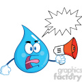 Royalty Free RF Clipart Illustration Angry Water Drop Character Screaming Into Megaphone With Speech Bubble