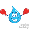 Royalty Free RF Clipart Illustration Smiling Water Drop Character With Boxing Gloves