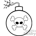 Royalty Free RF Clipart Illustration Black and White Cartoon Bomb With Skull And Crossbones