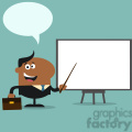 8358 Royalty Free RF Clipart Illustration African American Manager Pointing To A White Board Flat Style Vector Illustration With Speech Bubble