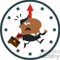 8277 royalty free rf clipart illustration hurried african american manager running past a clock modern flat design vector illustration gif, png, jpg, eps, svg, pdf