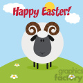 8243 Royalty Free RF Clipart Illustration Cute Ram Black Head Sheep With Flower On A Hill Modern Flat Design Vector Illustration With Text