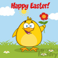 8603 Royalty Free RF Clipart Illustration Happy Easter With Smiling Yellow Chick Cartoon Character With A Red Daisy Flower Vector Illustration With Background